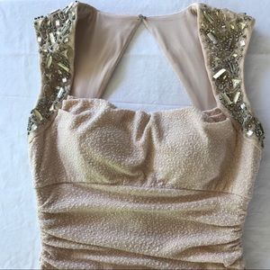 Cachet Gown SZ 14 Pale Pink Open Back Rusching EUC